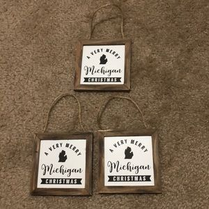 4x4 Christmas in Michigan Wooden Signs - Set of 3